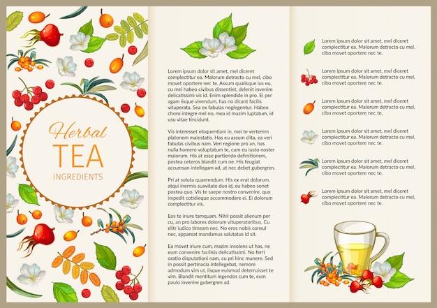 Poster di tè. volantino vintage per la presentazione. Vettore Premium