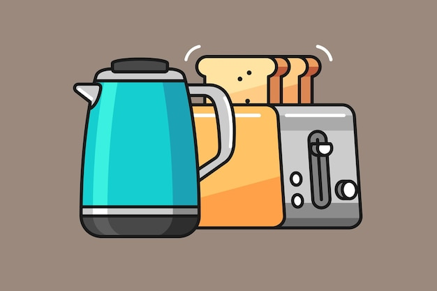 Teiera e tostapane illustration design