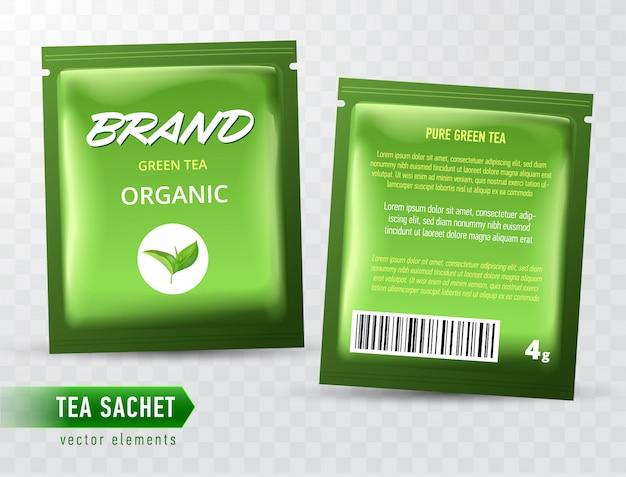 Modello di pacchetto bustina di tè su backgrpound trasparente. bustina di tè realistica.
