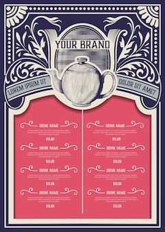Modello di menu del negozio di tè. stile vintage