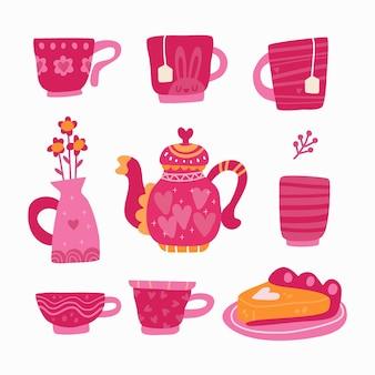 Insieme di raccolta dell'ora del tè con stile scandinavo