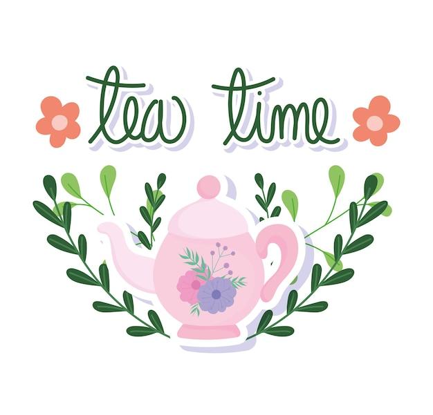 Ora del tè, bollitore carino con decorazione di fiori e rami, stoviglie in ceramica da cucina, illustrazione di cartone animato