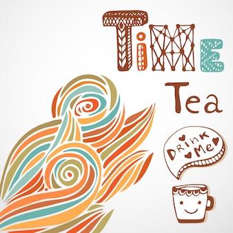 L'ora del tè. doodle lettering con la tazza carina. decorazione d'onda d'autunno