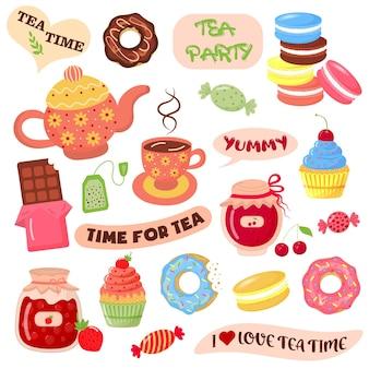 Collezione di elementi per l'ora del tè