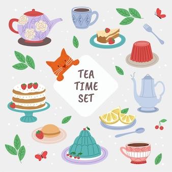 Insieme di elementi di tempo del tè.