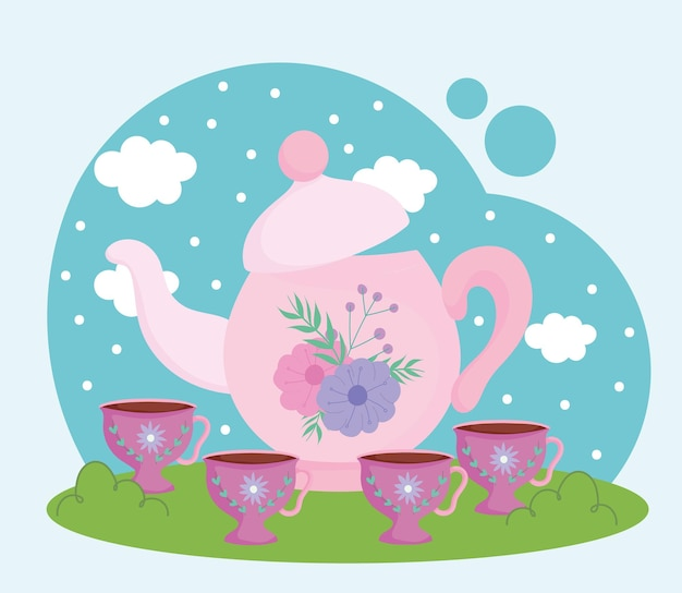 L'ora del tè, la teiera decorativa floreale e l'illustrazione paesaggistica delle tazze