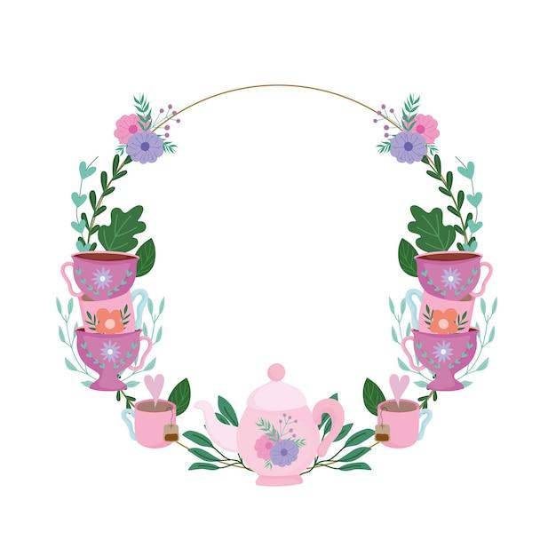 L'ora del tè, ghirlanda floreale tazze decorazione fiori e foglie illustrazione