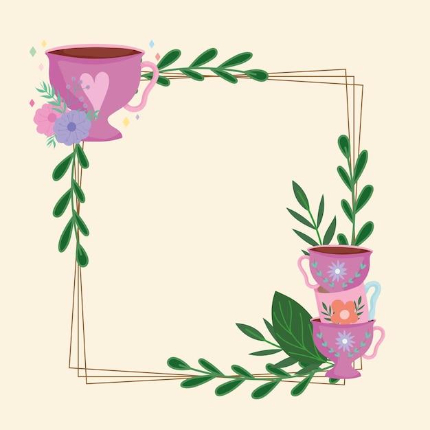 Tea time frame con tazze decorazione fiori foglie menta natura illustrazione