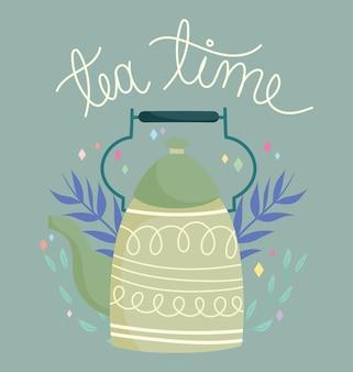 Il bollitore verde per l'ora del tè lascia la decorazione, i bicchieri in ceramica da cucina, l'illustrazione del fumetto di disegno floreale