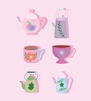 L'ora del tè, fiore stampato e floreale sull'illustrazione del fumetto degli utensili da cucina della raccolta dei bollitori