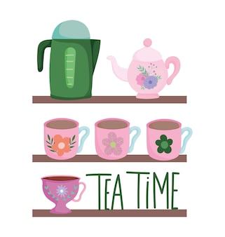 L'ora del tè, scaffali con molte tazze, bollitori, decorazioni floreali, bicchieri in ceramica da cucina, illustrazione di cartone animato con disegno floreale