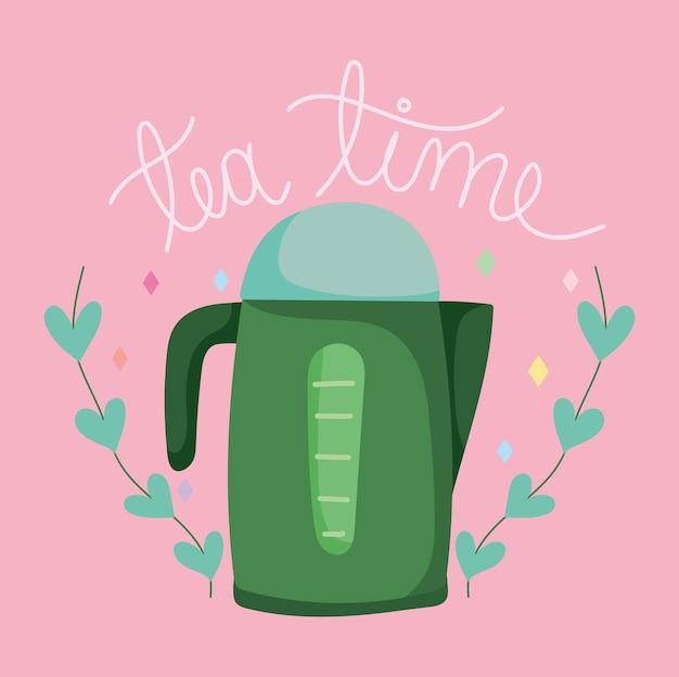 L'ora del tè, la teiera lascia la decorazione della natura, i bicchieri in ceramica della cucina, l'illustrazione del fumetto di disegno floreale