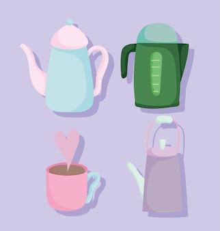 Bollitori per teiera da tè e stoviglie in ceramica da cucina, illustrazione di disegno del fumetto
