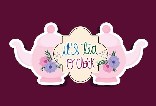 Bollitori tradizionali all'ora del tè con fiori e lettere disegnate a mano design illustrazione