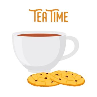 Ora del tè con biscotti d'avena