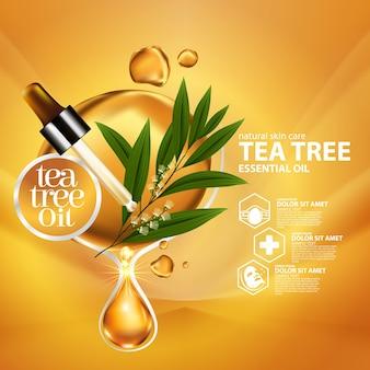 Cosmetico naturale per la cura della pelle dell'olio essenziale della foglia dell'albero del tè.