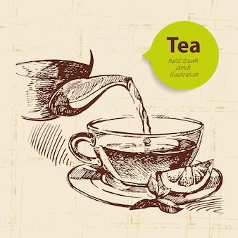 Sfondo vintage di tè. illustrazione di schizzo disegnato a mano. progettazione del menu