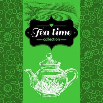 Sfondo vintage di tè. illustrazione di schizzo disegnato a mano. menu e design della confezione