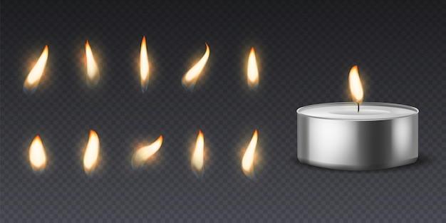 Candela di cera di tè con fiamma. candele rotonde realistiche 3d che bruciano luce e varie fiamme insieme per immagini di animazione, set vettoriale isolato su sfondo nero
