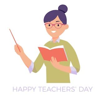 Un insegnante porta libri e insegna, celebra la giornata dell'insegnante
