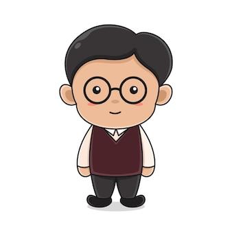 Modello di progettazione del logo del personaggio dell'insegnante per l'icona dei giorni degli insegnanti