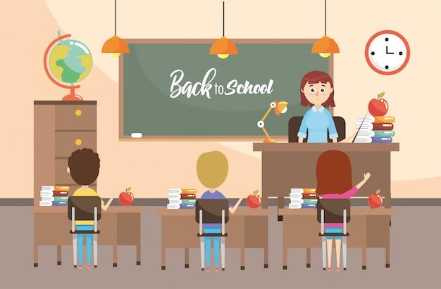 Insegnante in classe con studenti di educazione e lavagna