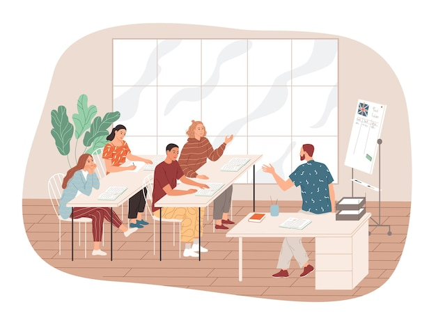 L'insegnante comunica con gli studenti.