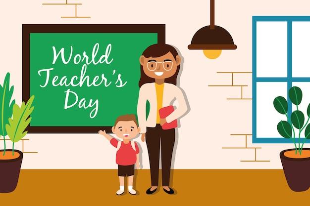 Insegnante femminile con disegno di illustrazione vettoriale scolaro