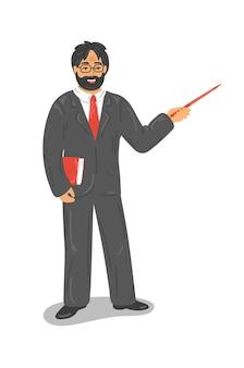 Insegnante in abito formale con puntatore della holding del libro