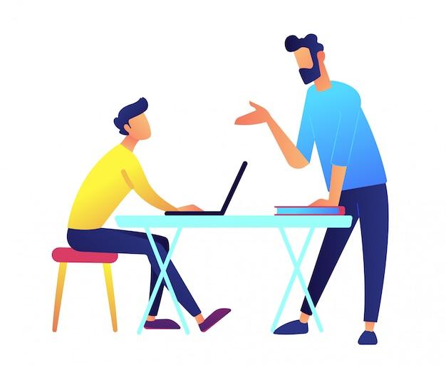Insegnante che dà una conferenza e uno studente con il computer portatile all'illustrazione di vettore dello scrittorio.