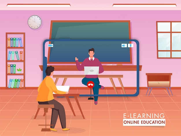 Insegnante che offre istruzione online ai suoi studenti da dispositivi digitali per mantenere le distanze sociali per prevenire il coronavirus.
