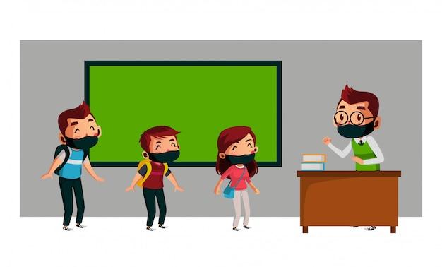 L'insegnante e il suo studente fanno l'allontanamento fisico della scuola durante una nuova normalità