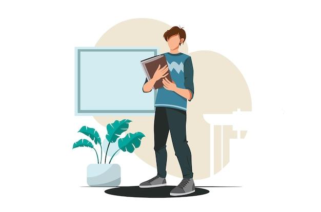 Un insegnante che tiene un'illustrazione del libro in vettoriale per il design del modello