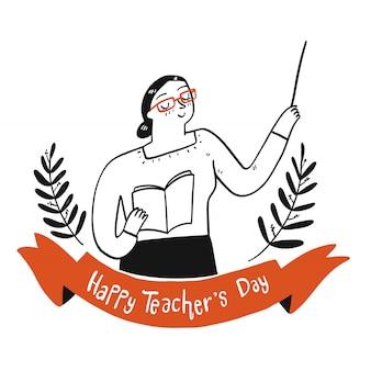 Insegnante che tiene un libro con il segno del giorno dell'insegnante felice.