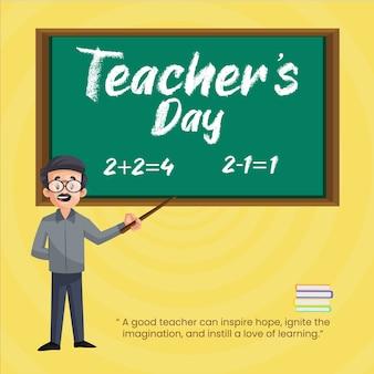 L'insegnante insegna matematica a bordo. design di banner per la giornata dell'insegnante