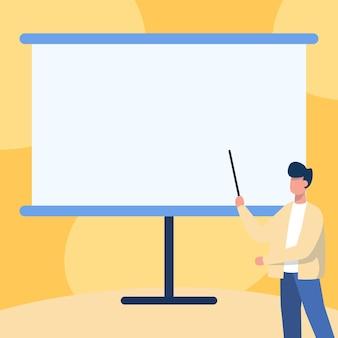 Insegnante in giacca che disegna in piedi un bastone puntato su una lavagna vuota che mostra un messaggio professore