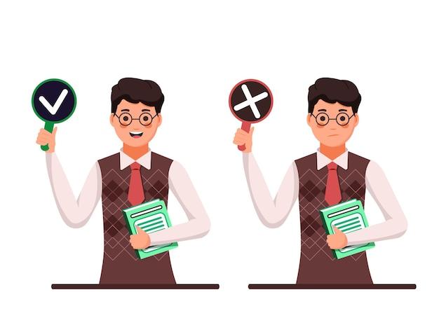 Insegnante uomo tenere segno di spunta cartello e rosso vietato