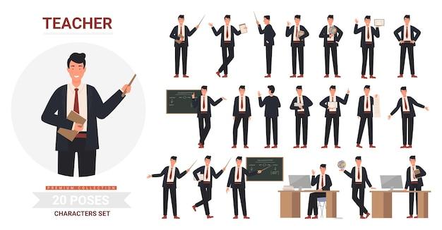 Insieme di posa dell'uomo dell'insegnante, posture di insegnamento professionale dei cartoni animati