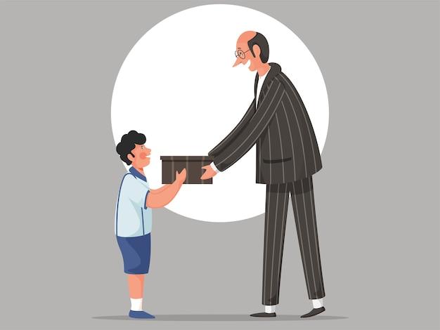 Insegnante uomo e studente ragazzo tenendo una confezione regalo su sfondo grigio.