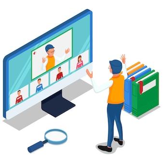 L'insegnante impara online con il proprio studente al computer. persone isometriche con illustrazione di riunione video online. vettore