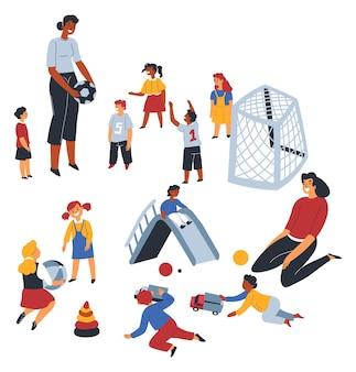 Insegnante che gioca con i bambini a calcio e giochi