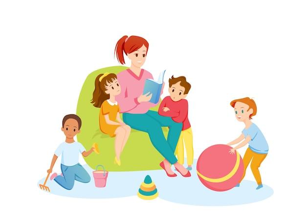 L'insegnante e i bambini in età prescolare leggono insieme l'illustrazione del libro