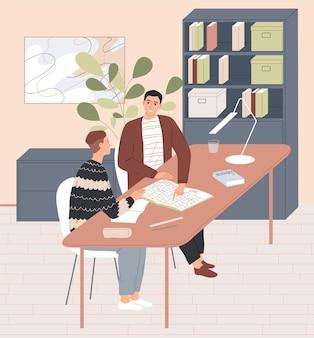 Insegnante e allievo sono seduti al tavolo della lezione individuale Vettore Premium