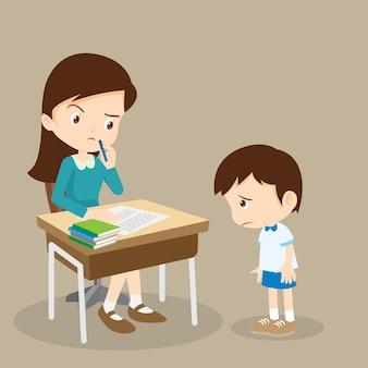L'insegnante rimprovera il ragazzo colpevole che non ha imparato la lezione dei compiti