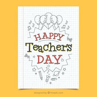 Giorno foglio di quaderno d'auguri per l'insegnante