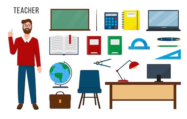 Insegnante e set di forniture e attrezzature per il suo lavoro.