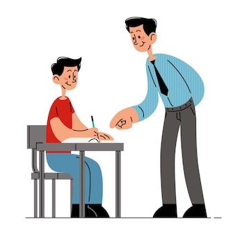 Insegnante in piedi e aiutando lo studente a svolgere il compito illustrazione vettoriale piatta
