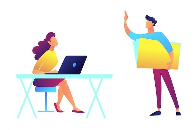 L'insegnante che sta e che indica e lo studente che si siedono agli scrittori vector l'illustrazione.