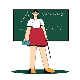 L'insegnante sta vicino alla lavagna. illustrazione vettoriale piatta