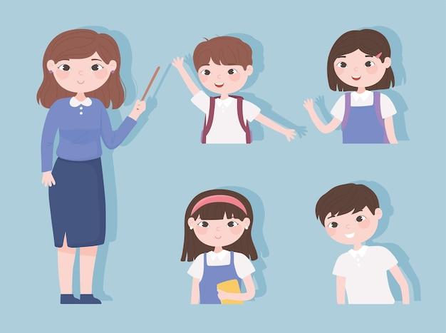 Insegnante studenti caratteri ragazze ragazzi